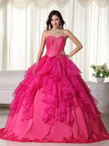 Hot Pink Organza Quinceanera Gowns with Embroidery and Ruffles