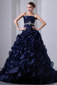 Navy Blue Dropped Waist Ruffled Quinceanera Gowns Dresses