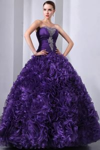 Elegant Purple Quinceanera Dresses with Organza Rolling Flowers