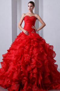 Beautiful Sweetheart Ruffled Layers Red Dresses for Sweet 15