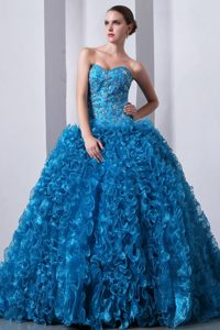 Classy Blue Sweetheart Organza Beading Quince Dresses with Ruffles