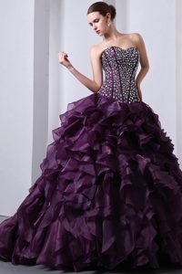 Beaded Bodice Ruffles Brush Dresses Quinceanera in Dark Purple