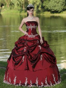 Burgundy Taffeta Quince Dresses with Pick-ups in North Yorkshire