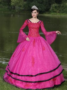 Fuchsia Square Organza Quinceanera Dresses with Long Sleeves 2013