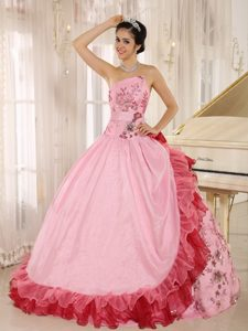 Cute Pink Strapless Sweet 16 Dresses with Appliques in Devon 2013