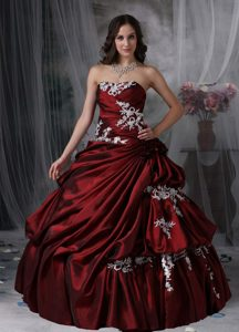 Pick ups and Appliques Accent Quinceanera Gown in Wine Red 2013