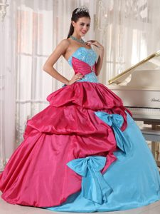 Pink and Blue Pick ups Bows Sweet 16 Dress in Sao Goncalo Brazil