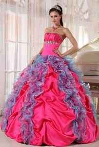 Ruffled Blue and Hot Pink Dresses 15 with Beading and Ruches 2013
