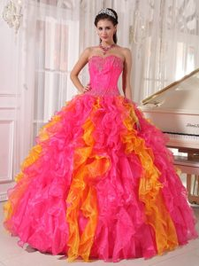 Ruffled and Beaded Hot Pink and Gold Dresses 15 in Goiania Brazil