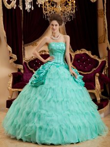 Beading and Ruffles Accent Dresses Quinceanera in Apple Green 2013