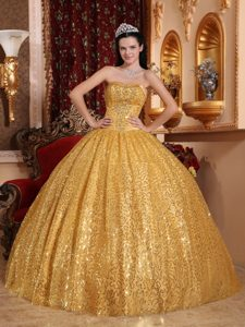Beaded Gold Sweet Sixteen Dresses with Sequins Over Skirt on Sale