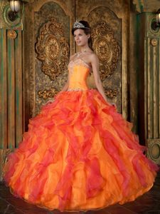 2013 Colorful Organza Sweet Sixteen Dresses with Ruffles and Beading