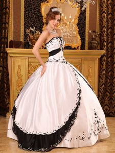 White and Black Strapless Sweet 15 Dresses with Embroidery 2013