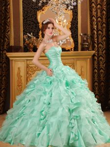 Ruches Beading Sweetheart Ruffles Sweet 15 Dress in Apple Green