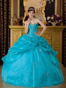Appliques Pick ups Teal Organza Sweet 15 Dresses in Belem Brazil