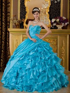 Appliqued and Ruffled Blue Sweet 15 Dress in Porto Alegre Brazil