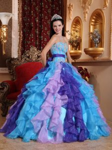 2013 Colorful Organza Quinceanera Gown Dress with Appliques Ruffles