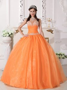 Appliqued Orange Organza Quinceanera Gown in Manaus Brazil 2013