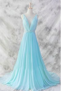 Noble Baby Blue Chiffon Backless Mother Of The Bride Dress Sleeveless Brush Train Belt