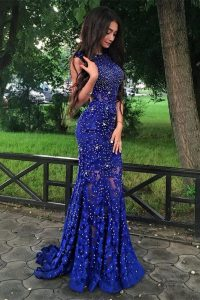 Mermaid Scoop Royal Blue Lace Backless Mother Of The Bride Dress Sleeveless With Brush Train Beading and Lace