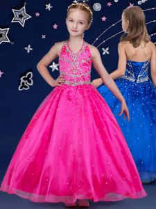 Latest Halter Top Floor Length Hot Pink Custom Made Pageant Dress Organza Sleeveless Beading