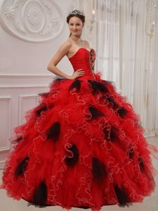 Upscale Sweetheart Ball Gown Ruffled Dress for Quince in Chisec