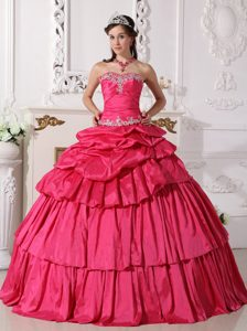 Appliqued Pick Ups Hot Pink Sweet 15/16 Birthday Dress 2014