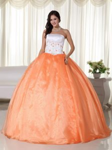 Embroidery Orange and White Ball Gown Quinceanera Dress 2014