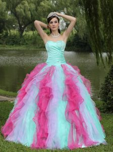 Popular Colorful Ruffled Beaded Sweet 15/16 Birthday Dresses