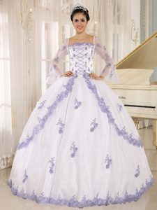 Square Neck Long Sleeves Appliqued White Quinceanera Gowns