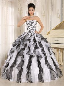 Two-toned Ruffled Embroidery Quinceanera Gown Dress on Sale