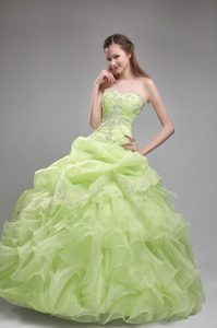 Beautiful Strapless Ruffled Quinces Dresses in Spring Green