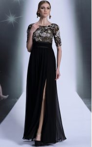 Scoop Black Half Sleeves Chiffon Zipper Prom Gown for Prom and Party