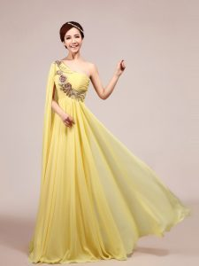 Flare One Shoulder Light Yellow Sleeveless Chiffon Sweep Train Zipper Mother Of The Bride Dress for Prom and Party