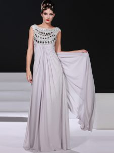 Sleeveless Floor Length Beading and Lace Side Zipper Mother Of The Bride Dress with Silver