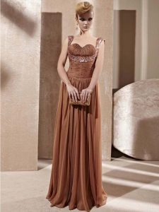 Custom Fit Brown Chiffon Zipper Mother Of The Bride Dress Sleeveless Floor Length Beading