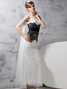 Fashion One Shoulder White And Black Column/Sheath Lace Dress for Prom Side Zipper Chiffon Sleeveless Floor Length