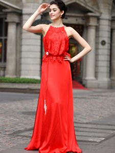 Edgy Scoop Coral Red Sleeveless Beading and Appliques Floor Length Homecoming Dress