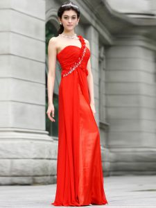 Ideal One Shoulder Sleeveless Beading and Hand Made Flower Zipper Prom Evening Gown