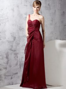 Sophisticated One Shoulder Sleeveless Zipper Floor Length Beading and Ruching