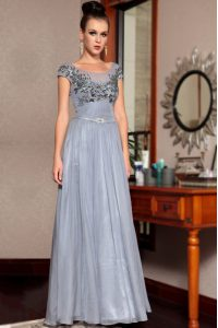 Shining Scoop Grey Cap Sleeves Floor Length Beading and Sequins and Ruching and Belt Side Zipper Prom Evening Gown