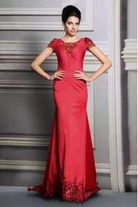 Pretty Scoop Red Short Sleeves Court Train Appliques Evening Dress