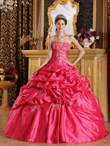 Fabulous Hot Pink Appliqued Pick Ups Quinceanera Gown Dress