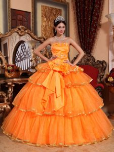 Wholesale Orange Ruffled Layers Quinceanera Gown Dresses