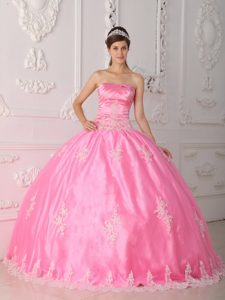 Pretty Pink Appliqued Ball Gown Quinces Dress with Lace Hem