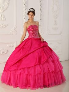 Fast Shipping Strapless Beaded Hot Pink Quinceanera Dresses