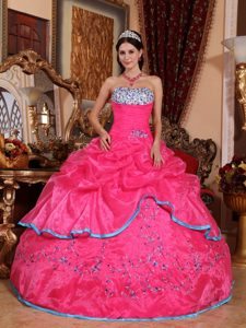 Fast Shipping Beaded Strapless Rose Pink Quinceanera Dress