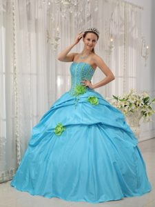 Fast Shipping Strapless Beaded Flowers Dresses for Sweet 16
