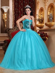 Tulle Sequins Appliqued Green Dress for Quince in Mazatenango