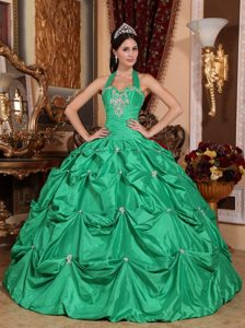 Affordable Halter Appliqued Pick Ups Green Sweet Sixteen Dress